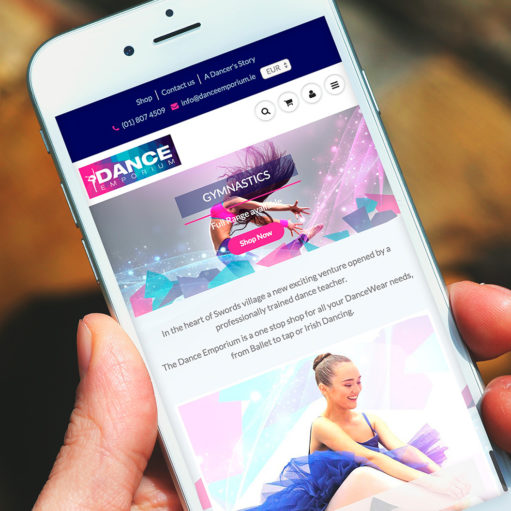 The Dance Emporium Shopify Website on Mobile